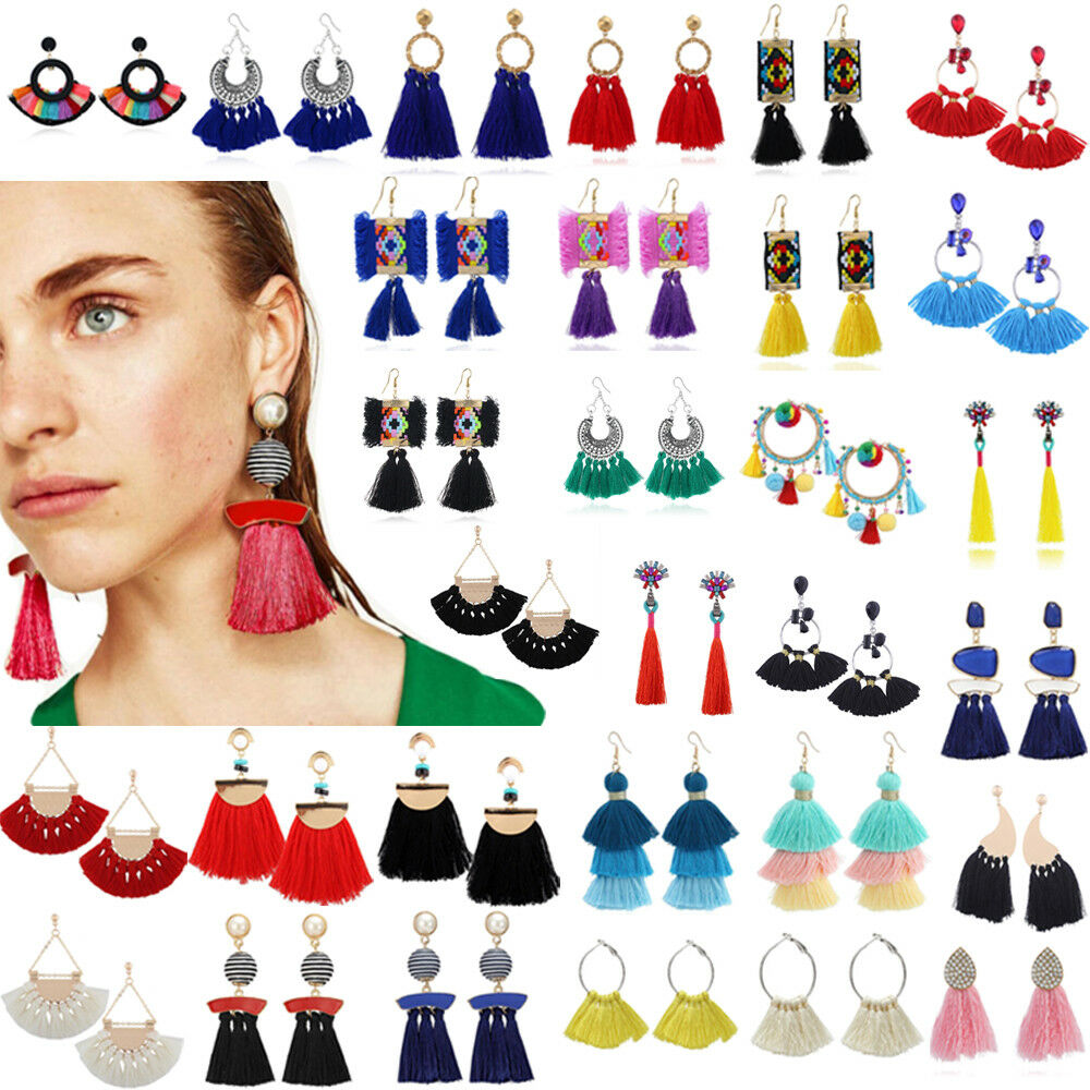 Earrings - Fashion Bohemian Jewelry Elegant Crystal Tassel Earrings Long Drop Dangle Women