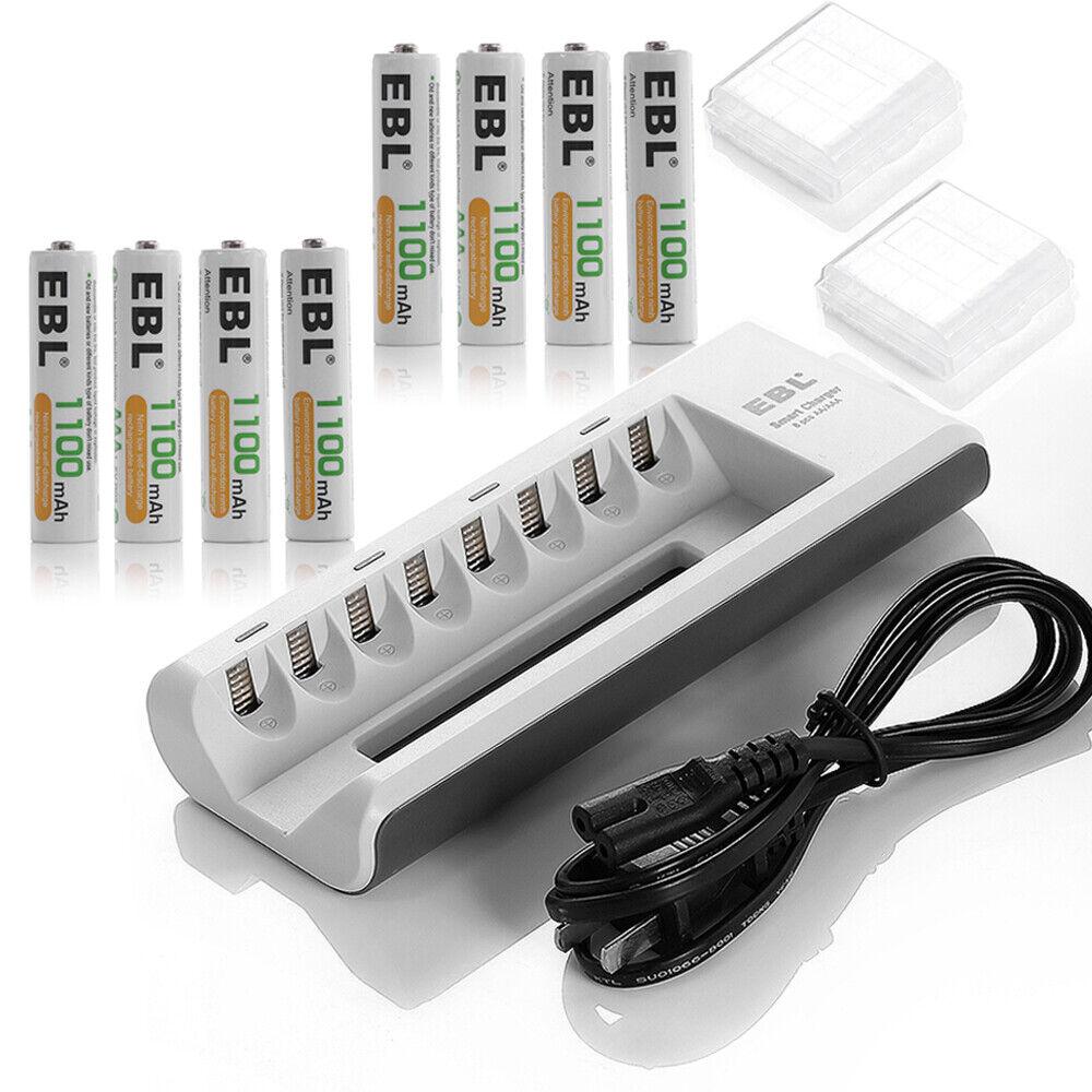 8PCS EBL 1100mAh AAA NiMh Rechargeable Battery + AC Charger