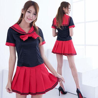 Women Cute Japanese High School Girl Dress Uniform Adult Costume Fancy Dress (Cute School Girl Costume)