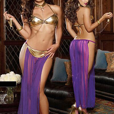 Slave Princess Costume (Princess Leia Slave Bikini Costume Adult Sexy Lady Cosplay Fancy Dress)