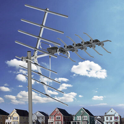 200 Mile Outdoor TV Antenna Satellite Dishes Amplified HDTV 1080P Digital + Pole ()