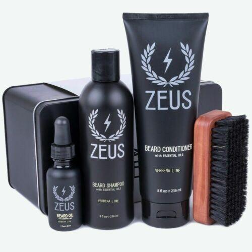 Zeus Deluxe Beard Care Kit, Verbena Lime- Beard Shampoo,