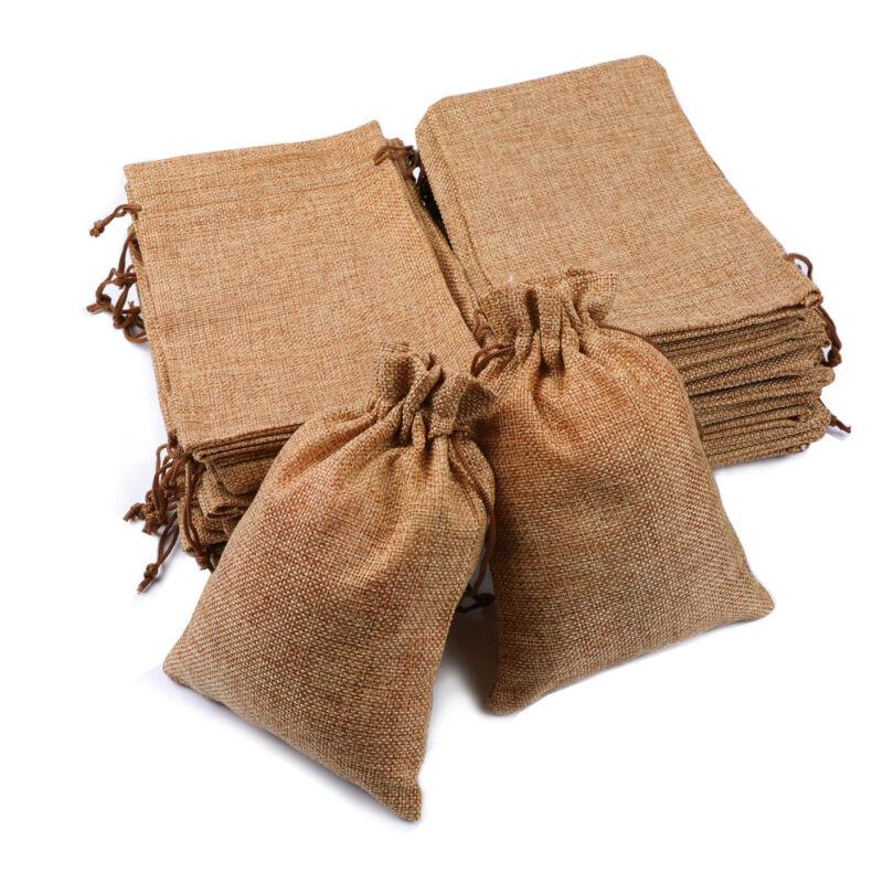 25/50/100x Burlap Wedding Favor Bags Linen Jewelry Pouches Jute Hessian Gift Bag