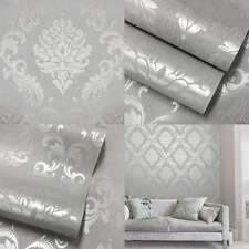 Home Decor 'Pure' Metallic Glitter Damask Wallpaper Soft Grey Silver (HD504)