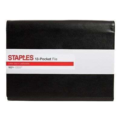 Staples M By Leather Expanding File Letter Size 13-pocket Black 51793 689122