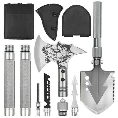 6-in-1 Multi Tool Survival Kit AXE SHOVEL KNIFE SAW HAMMER NAIL PULLER W/pouch