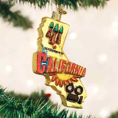 State Of California glass Ornament Old World Christmas NEW IN BOX Napa Hollywood - Hollywood Christmas Ornaments