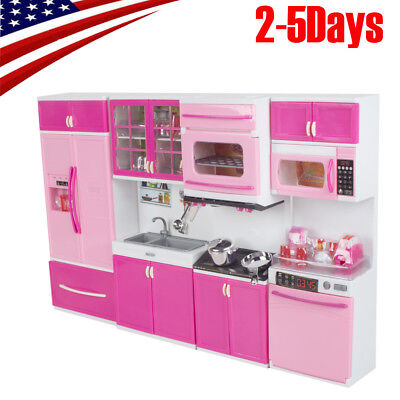 【USA SHIP】 Kitchen Pretend Play Cooking Set Cabinet Stove Toy for Kids Baby EDC