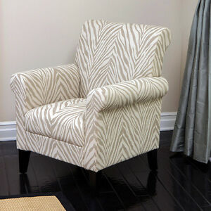 Elegant Design Beige Fabric Upholstered Club Chair W Zebra Pattern Accents