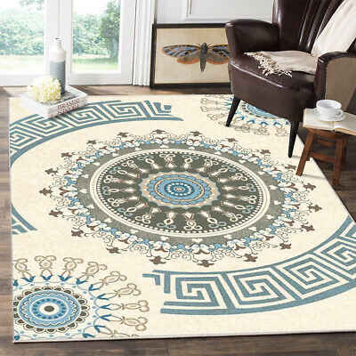 Traditional Medallion Area Rug Non-slip Carpet Dining Room Bohemian Floor Mat Traditional Patio Rug