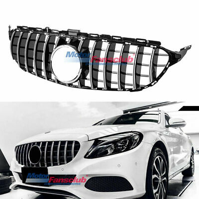 For Mercedes Benz C Class W205 2015+ AMG GT R Grille Black w/ Chrome Front Grill