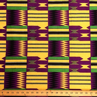 Kente African Print Fabric 100% Cotton 44'' wide sold by the yard (19004-6)