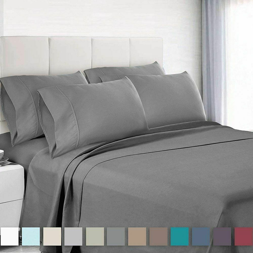 6 Piece Bedroom Bed Sheet Set 3000 Thread Count Luxury Comfo