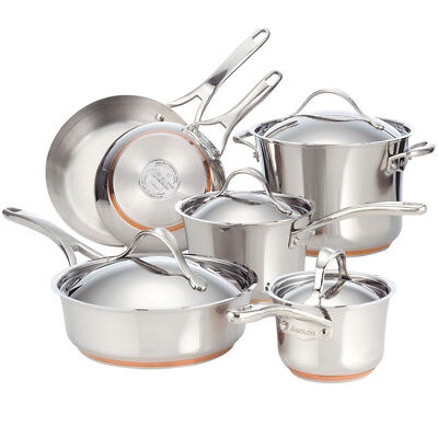 Anolon Nouvelle Copper Stainless Steel 10-Piece Cookware Set in Silver
