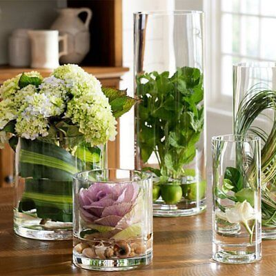 Handmade Cylinder Clear Glass Flower and Filler Vase for Indoor And Outdoor