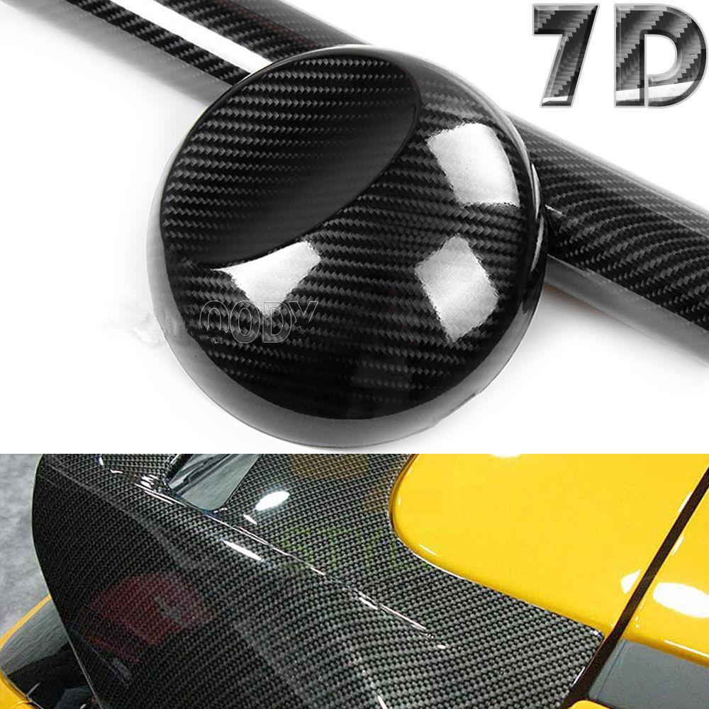 *7D Ultra High Gloss Black Carbon Fiber Vinyl Wrap Sticker Decal Air Release 6D*