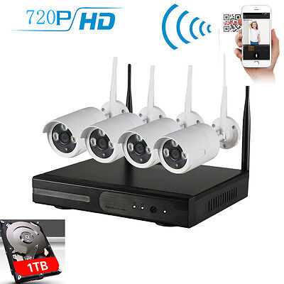4CH WIFI NVR 4x1MP 1080P Outdoor Network Wireless Security Camera System 1TB HDD
