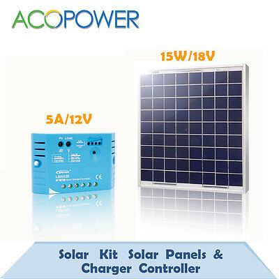 15W Poly Solar Panel +5A PWM Control Controller For 12 V Battery Charger