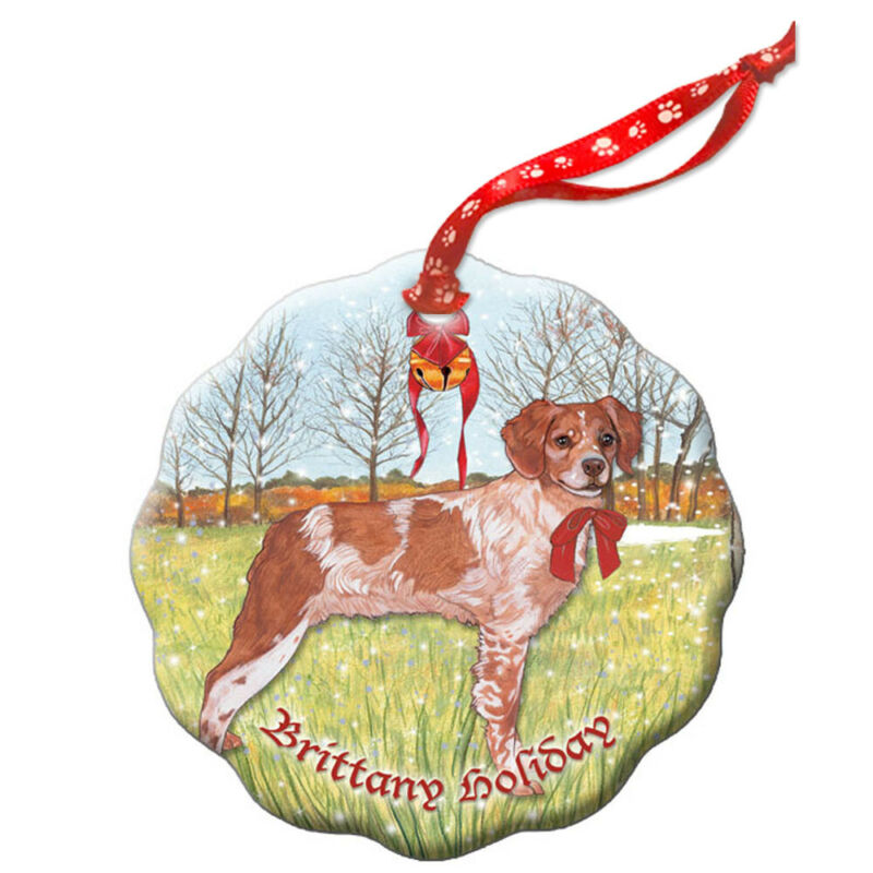 Brittany Spaniel Holiday Porcelain Christmas Tree Ornament