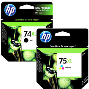 HP74xl Black HP 75xl Color Combo Pack Ink Genuine Cartridges For J6415 J6450