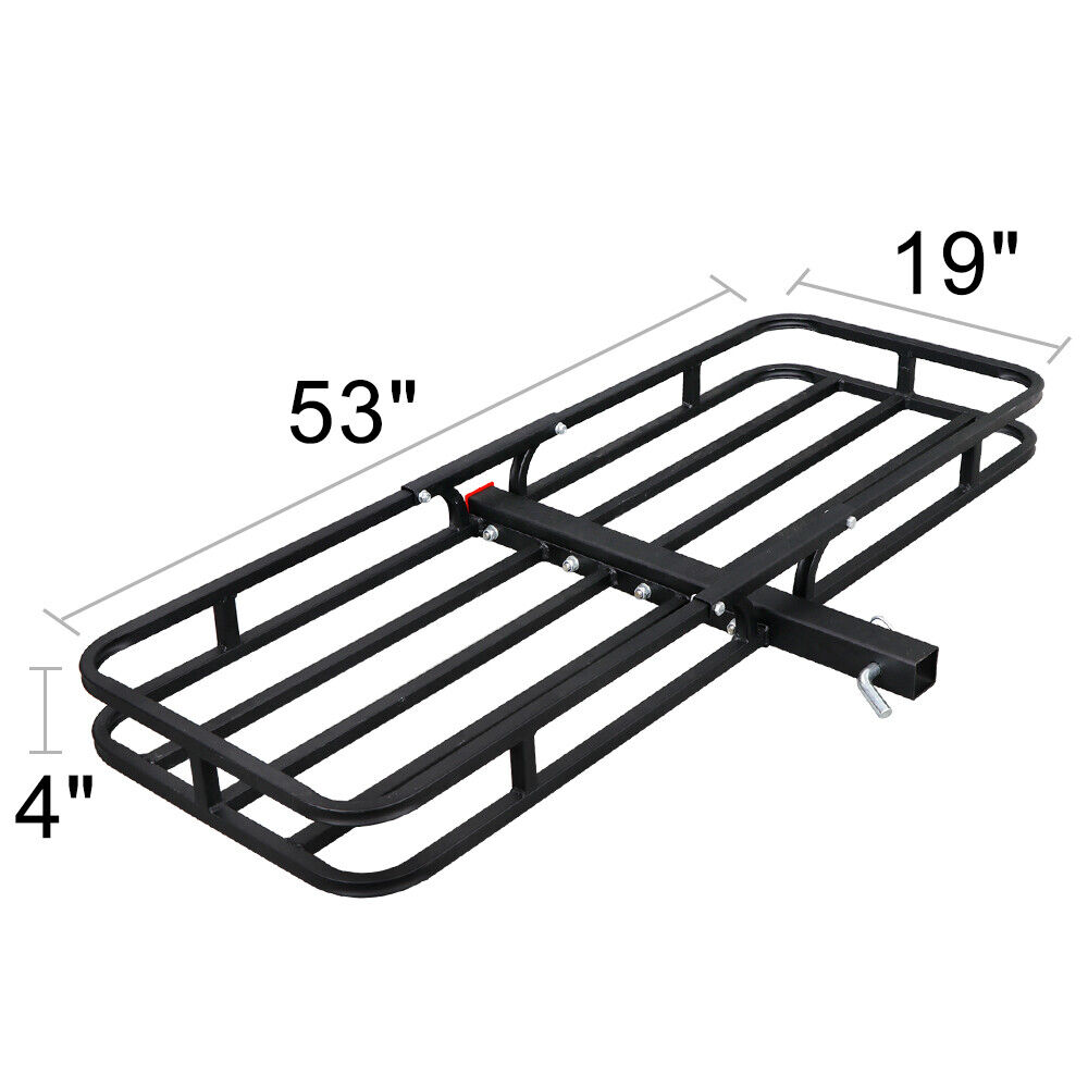 Universal 53″ Black Rack Extension Cargo Luggage Hold Carrier Basket 2″ Hitch Car & Truck Parts