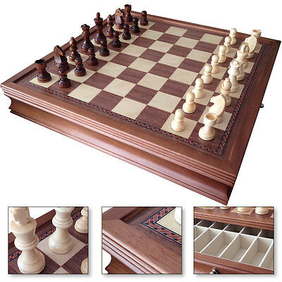 "19"" Deluxe Large Chess Board Game Set Drawers Storage Box Walnut Wood Finish"
