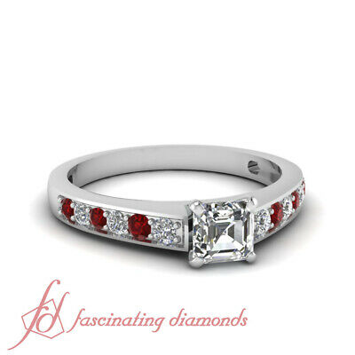3/4 Carat GIA Certified Asscher Cut Diamond & Ruby Pave Set Engagement Ring SI1