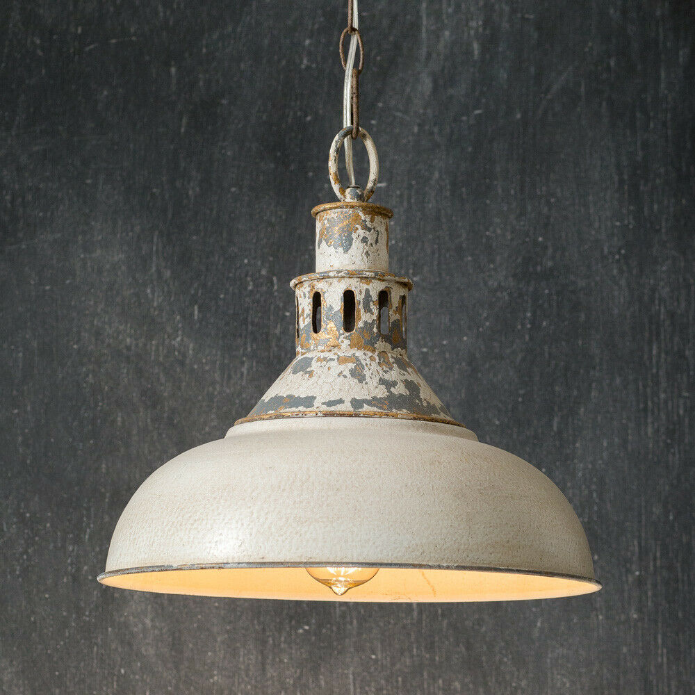 Distressed new White Barn Tin Pendant Light