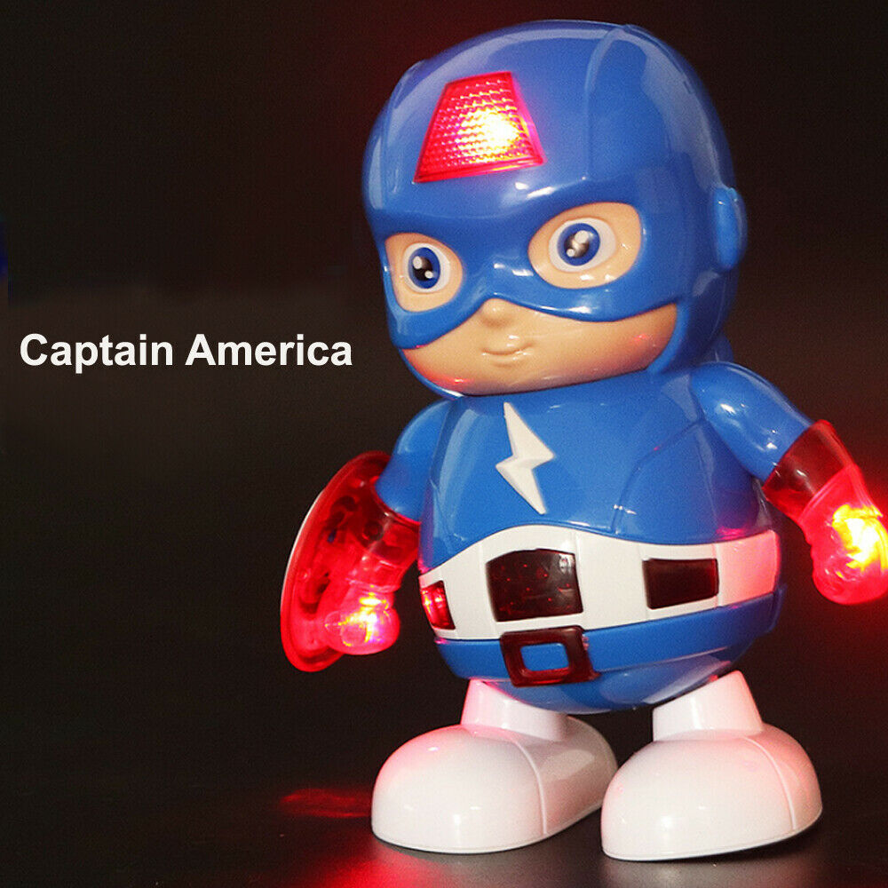 Iron Man Captain America Dance Hero Robot Action Figure Toy LED Light With Sound