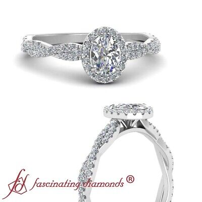 3/4 Carat Oval Shaped Diamond Infinity Twist Halo Engagement Ring In Platinum