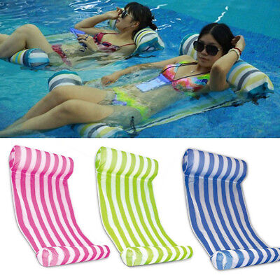 - Summer Swimming Pool Toy Hammock Lounge Inflatable Water Floating Bed Mat +Pump