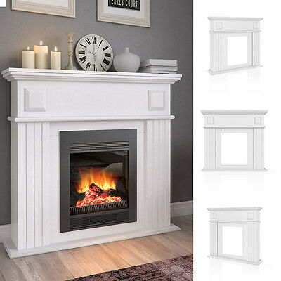 VICCO Kaminumrandung im Shabby Landhaus-Stil Kaminkonsole 109 x 100 cm Weiß
