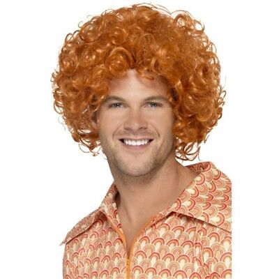 Curly Afro Wig - Ginger Fancy Dress 1970s Disco Mens Costume Smiffys - Ginger Afro Wig