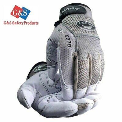 Caiman 2970 - Deerskin Padded Palm Knuckle Protection Mechanics Gloves 4 Pr M-xl