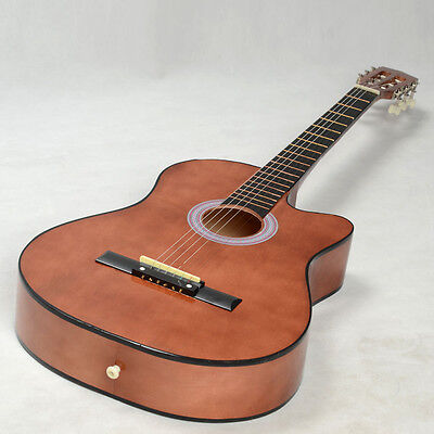 "New 38"" Coffee Cutaway Plywood 19 Frets 6 Strings Practice Acoustic Guitar"