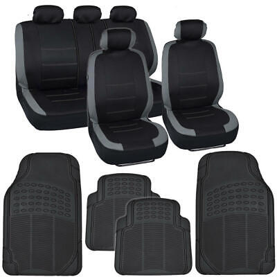Car Seat Cover Set & Heavy Duty Rubber Floor Mats Set Gray/Black for Sedan Truck