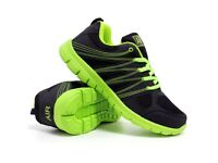 Mens AIR Running Gym Walking Shock Absorbing Sports Trainers, Size 9 - Black & Green - New