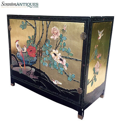 - Large Antique Chinese Asian Hand Painted Gold Flake Cabinet