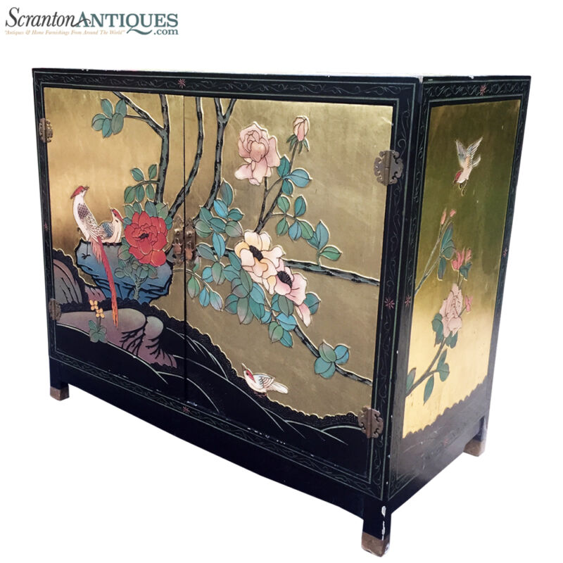 """Large Antique Chinese Asian Hand Painted Gold Flake Cabinet """"Birds of Paradise"""""""