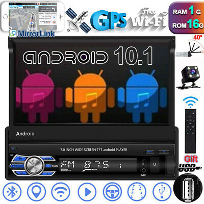 "Single 1Din Flip 7"" Android 10.1 Car Radio GPS Navi Stereo USB BT Wifi + Camera"