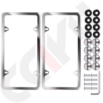 2x Slim Silver Stainless Steel License Plate Plate Framea set of Screw Package