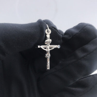 Blessed 14K Solid White Gold Jesus Crucifix Religious Cross Charm Pendant Solid 14k White Gold Pendant