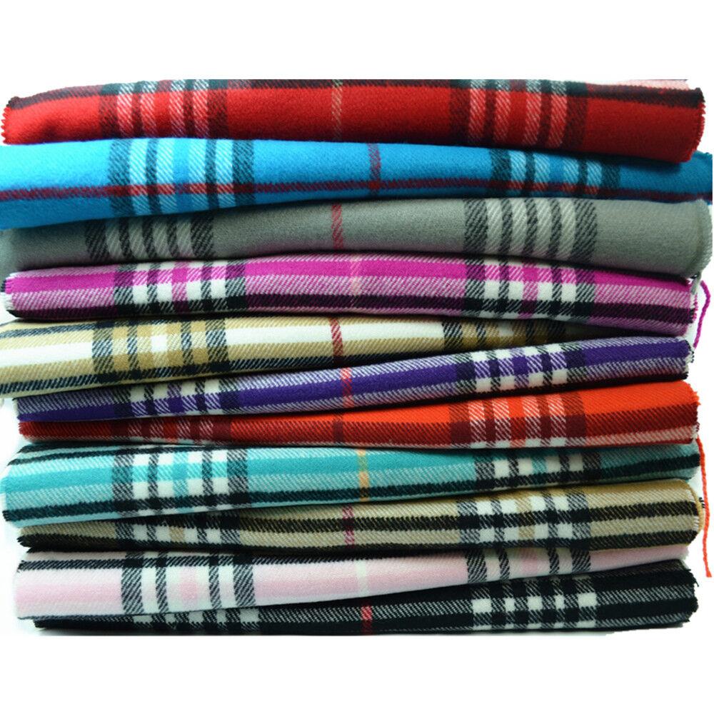Scarf - Men Women Unisex 100% CASHMERE Scarf Classic Tartan Stripe Wool Wrap SCOTLAND