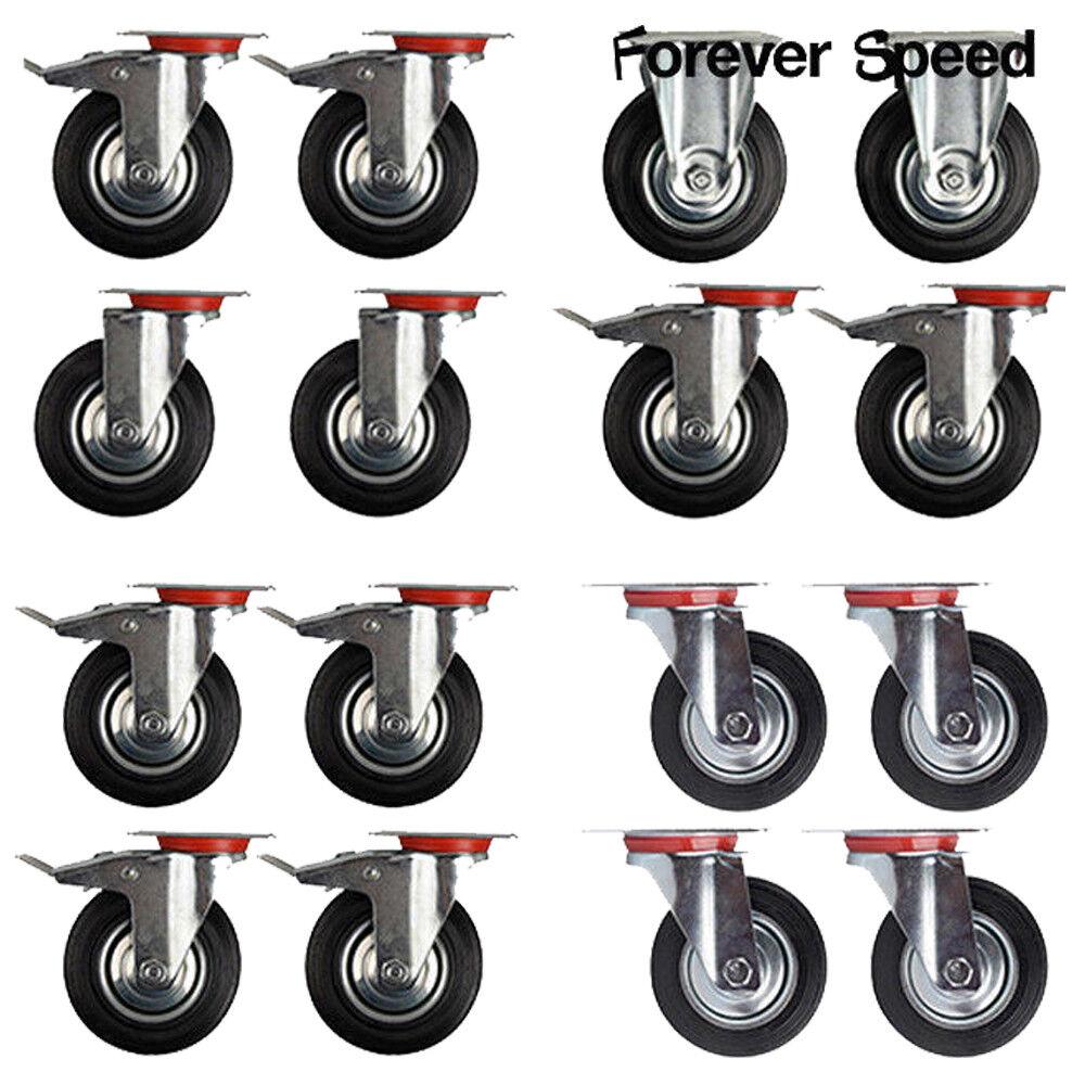2 Lenkrollen mit Bremse 100mm Transportrollen Schwerlastrolle Stahlblech Verzinkt 70KG//R 2 Lenkrollen 100mm