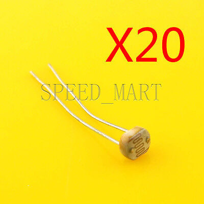 20 Pcs Photoresistor Ldr Cds 5mm Light-dependent Resistor Sensor Gl5516 Arduino