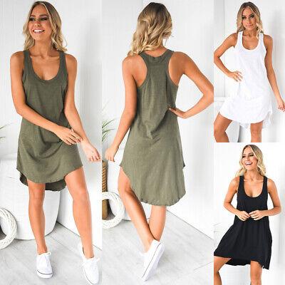 Womens Ladies Plain Cotton Vest Top Long Summer Sleeveless Vest Maxi Shirt Dress