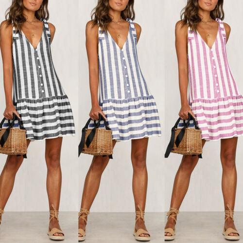Damen Sommer Locker Gestreift Leinen Strandkleid Minikleid Trägerkleid Tunika