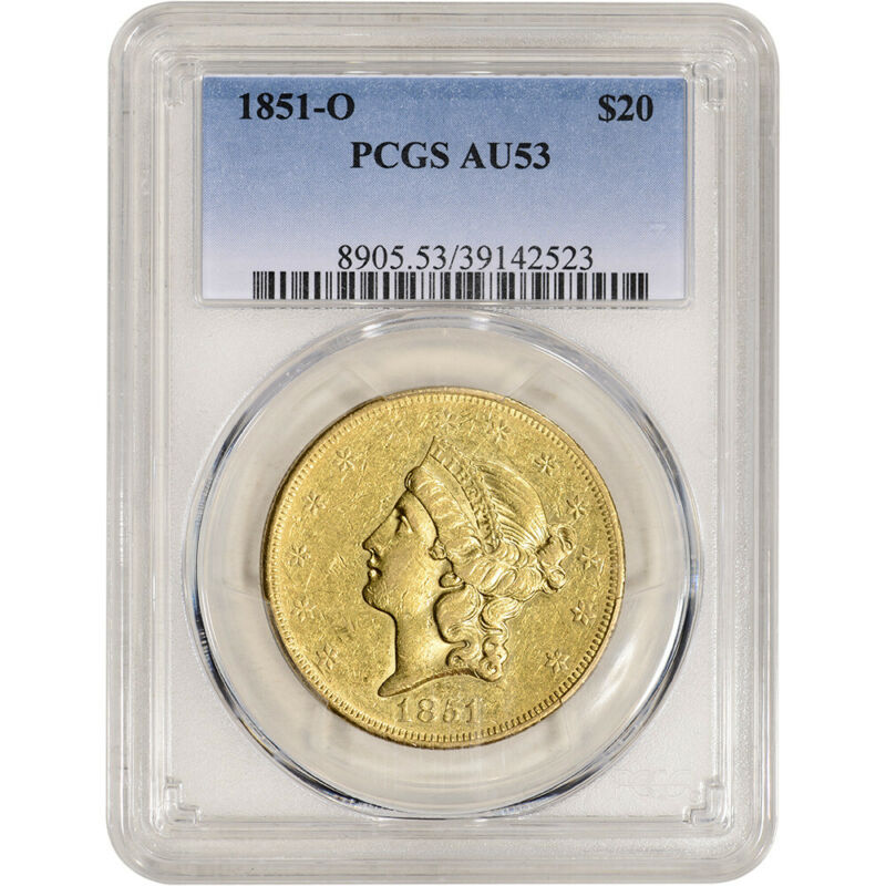 1851-O US Gold $20 Liberty Head Double Eagle - PCGS AU53