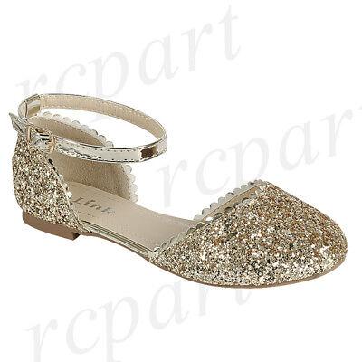 New girl's kids glitter formal dress wedding shoes Gold buckle closure