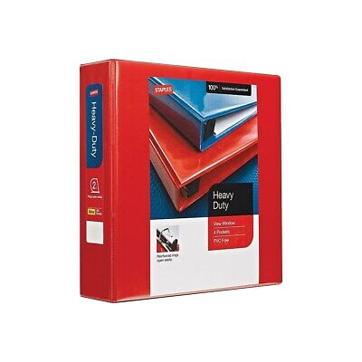 Staples Heavy-Duty 2-Inch D 3-Ring View Binder Red  976062